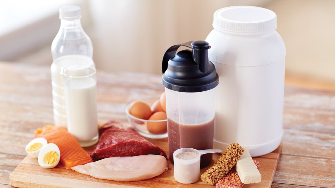 Assorted sources of protein on a table.