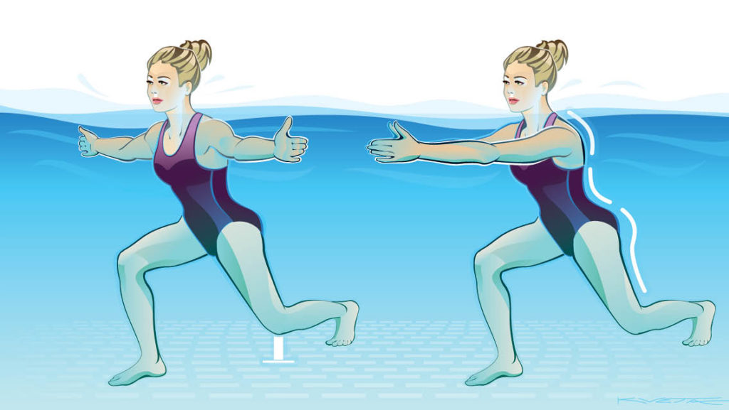an illustration of a woman performing split stance fly in a pool